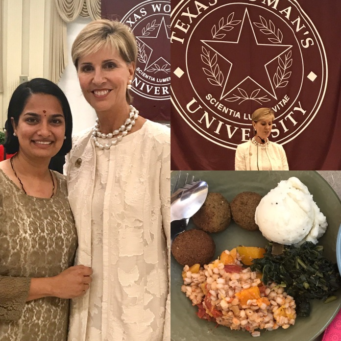 Collage of three images. Left portrait of Sri Chennapragada and Dr. Carine Feyten. Right portrain of Dr. Feyten's address at the awards luncheon. Right hand bottom corner image is of a vegan meal from TWU's Dining Services